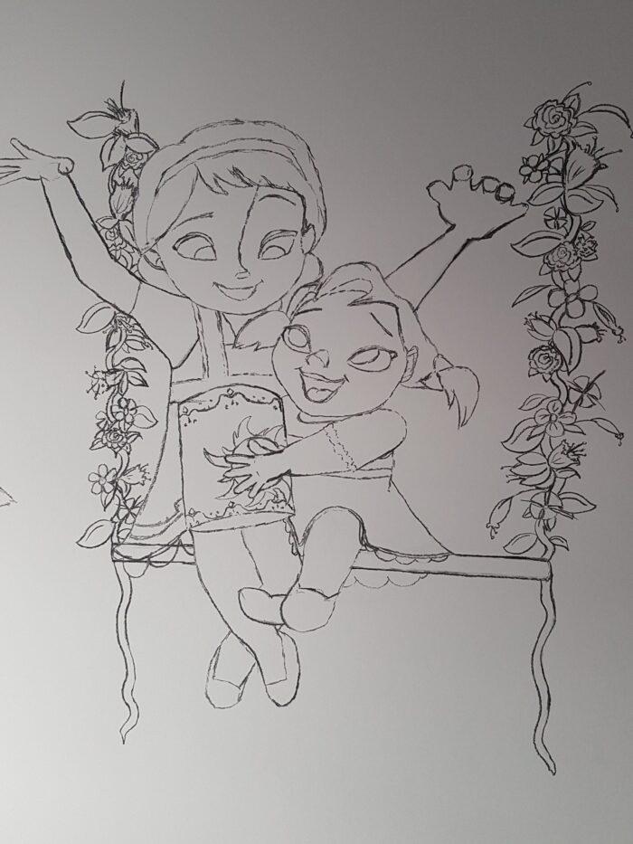 Boceto Elsa y Ana Frozen mural infantil personalizado